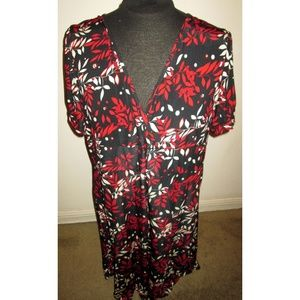 Stretchy Plus Size 3X Dress Black/Red/White Floral